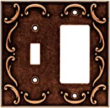 Brainerd 64248 French Lace Single Toggle Switch/Decorator Wall Plate/Switch Plate/Cover, Sponged Copper