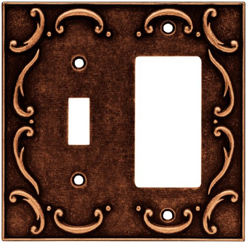 Brainerd 64248 French Lace Single Toggle Switch/Decorator Wall Plate / Switch Plate / Cover, Sponged Copper - Brainerd French Lace