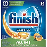 Finish All in 1 Gelpacs Orange, 84ct, Dishwasher Detergent Tablets (Pack of 6)
