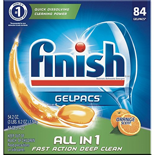 Finish All in 1 Gelpacs Orange, 84ct, Dishwasher Detergent Tablets (Pack of 6) by Finish