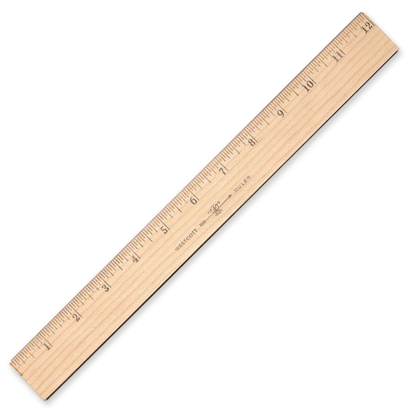 Westcott Wood Ruler Measuring Metric and 1/16 '' Scale With Single Metal Edge, 30 cm (10375)
