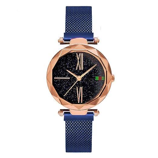 fe754a1b3830 Lujo Oro Rosa Relojes de Las Mujeres Minimalismo Cielo Estrellado Imán  Hebilla Moda Casual Reloj Femenino Impermeable Numeral Romano  Amazon.es   Relojes