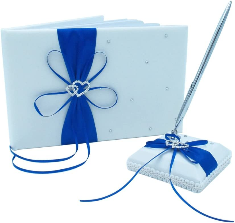 Abbie Home Wedding Guest Book + Pen Stand + Pen Set Ribbon Bowknot Double Heart Rhinestone Décor Party Favor-Royal Blue