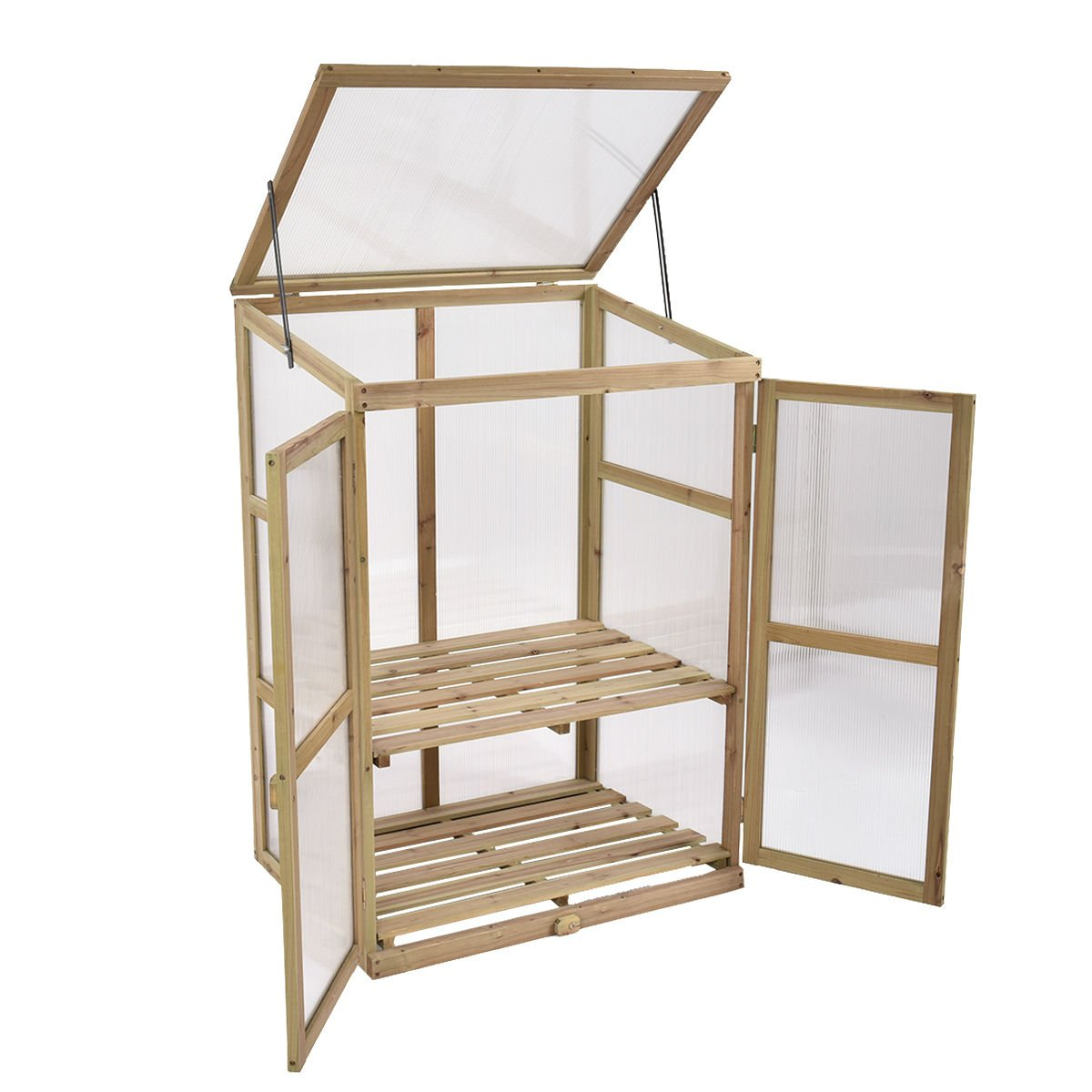 KCHEX>Garden Portable Wooden Greenhouse Cold Frame Raised Plants Shelves Protection>This Large, Solid Wooden Greenhouse is Perfect for Extending Your Growing Season and Protecting Your Plants.