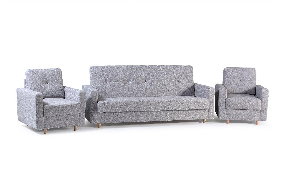mb-moebel Polstergarnitur 3er Sofa und Zwei Sessel Couch mit Bettkasten und Schlaffunktion Wohnzimmer Set 311 Livia