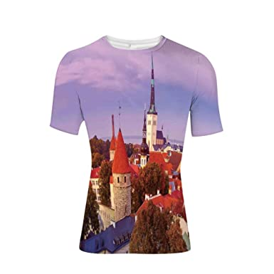 9eed69dd Amazon.com: Tee Shirts Tops,Medieval Old Town in Autumn Twilight ...