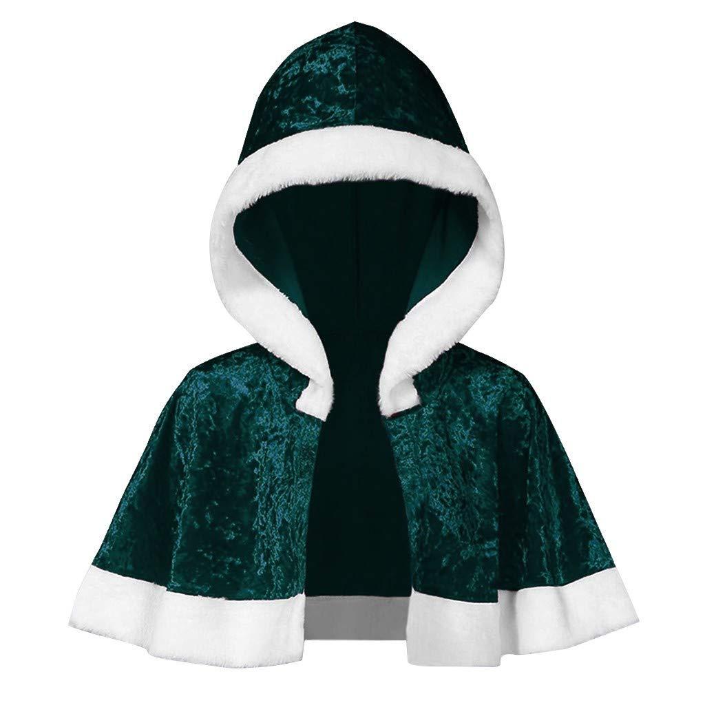 Dunacifa Womens Cloak Velvet Cosplay Costumes Christmas Hooded Cape Santa Claus Coat
