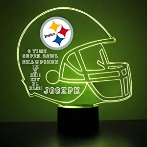 Pittsburgh Steelers Football Helmet Sports Fan Lamp / Night Light - LED - Personalize for Free - Featuring Licensed Decal