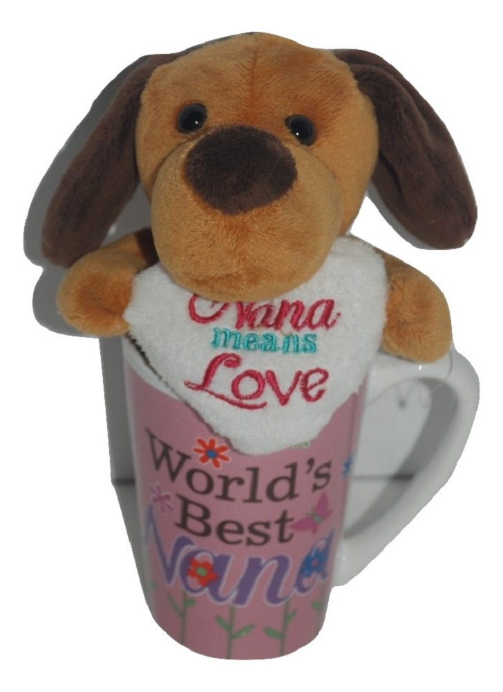 Brown Mothers Day Gift Basket Bundle For Mom Set Plush Puppy w// Moon and Back Mug Blue Topaz Boutique