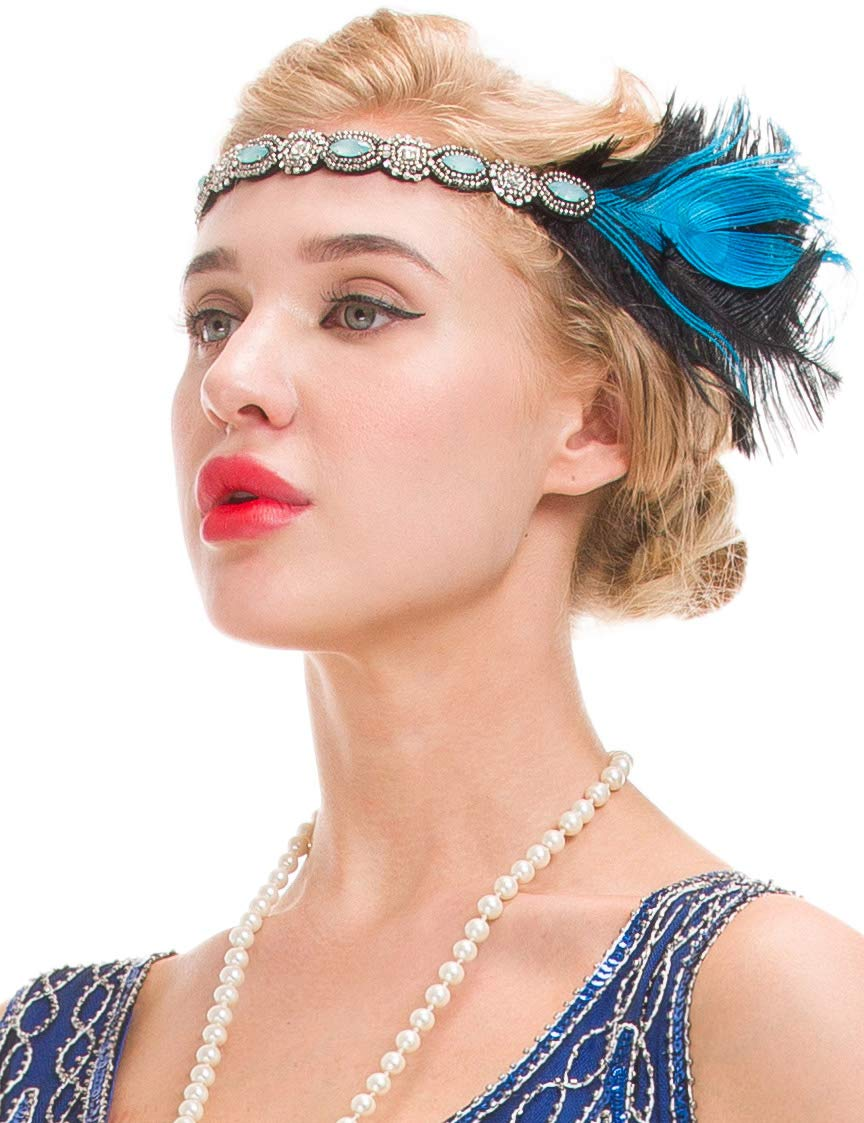 Amazon.com   GVOICE Women s 1920s Flapper Feather Headband - The Great  Gatsby Inspired Headpiece (blue)   Beauty 200520ac196