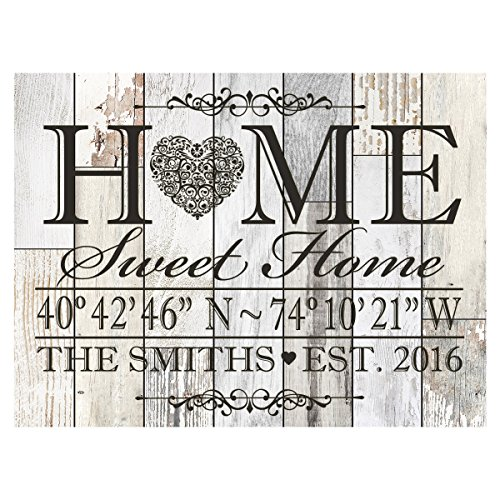 LifeSong Milestones Personalized Home Coordinates Latitude Longitude Wall Sign with Family Last Name and Date Established Home Sweet Home for Couple Solid Wood (Light Distressed) (Established Signs Home)