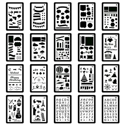 Set Burning Wood Creativity (Plastic Stencils Bullet Journal Supplies DIY Drawing Template(Pack of 20) 4x7 inch)