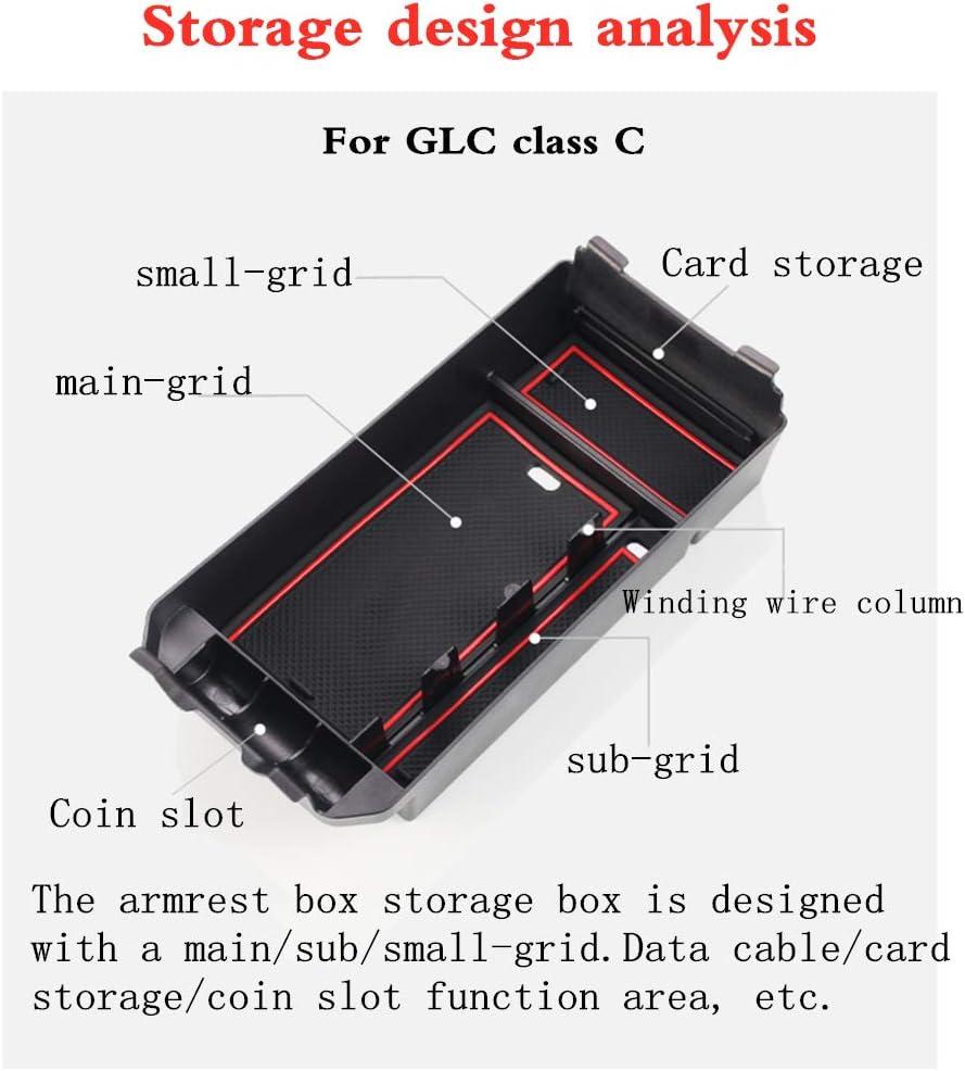 Pour B enz GLA CLA Class A//B Console Central Voiture Accoudoir Bo/îte de Stockage Secondaire Avec Tapis antid/érapant