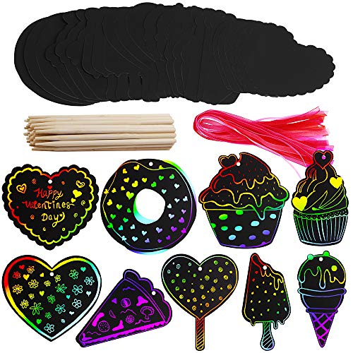 27 Set Art Rainbow Magic Scratch Paper Ornaments Valentine's Day Ornaments Cupcake Ice Cream Donut Cutouts with Holes Hang Tags Favor Tags Gift Tags Treats Tags with Organza Ribbons Scratching -