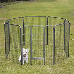 Fur Family Foldable 40-inch Pet Playpen Exercise Play Pen 8 Panel Fence Kennel Cage Dog Large