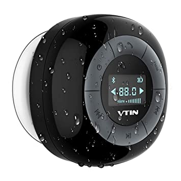 Vtin Relaxer Shower Speaker With Fm Radio Waterproof Bluetooth Shower Radio Lcd Display 10 Hours Play Time Built In Mic With Suction Cup Mini