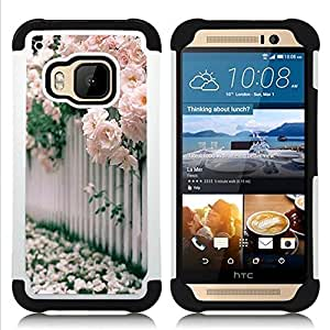 GIFT CHOICE / Defensor Cubierta de protección completa Flexible TPU Silicona + Duro PC Estuche protector Cáscara Funda Caso / Combo Case for HTC ONE M9 // Roses White Pink Blossoming //