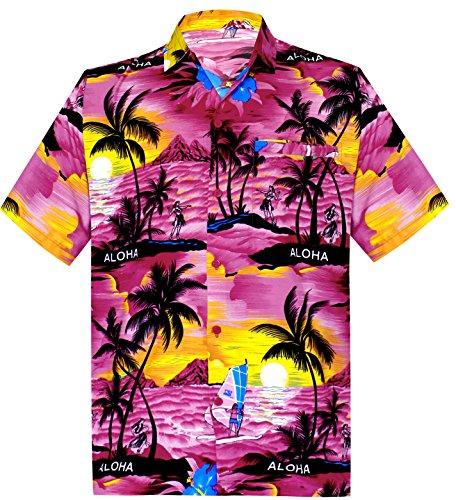 La Leela* Bouton de Plage en Bas Manches Courtes Chemise Hawaïenne Aloha Casual 6XL Ros