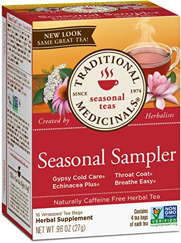 Traditional Medicinals Organic Seasonal Tea Sampler Variety Pack, 16 Tea Bags (Pack of 1) (Best Remedy For Flu And Sore Throat)