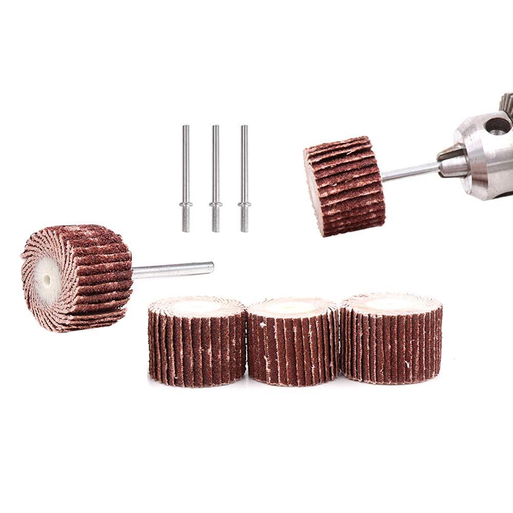 58DY Lot de 50 brosses /à papier abrasif pour outils rotatifs 80#120#240#400#600 Grains avec 5 mandrins 1//8