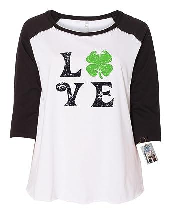 1e7e5bef14db2 St Patricks Day Love Shamrock Shirt Plus Size Womens Raglan Sleeve T Shirt  Black White 1X