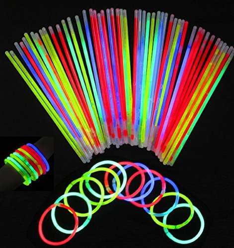 Vivii Glowsticks, 100 Light up Toys Glow Stick Bracelets Mixed Colors Party Favors Supplies (Tube of 100)]()