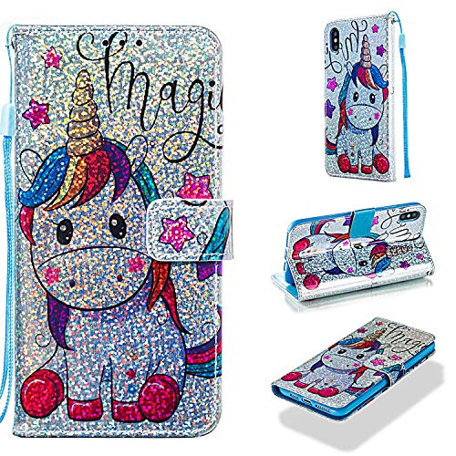 Cfrau Sequins Wallet Case for iPhone XS Max,Fashion 3D Bling Glitters Fantasy Horse Print Magnetic PU Leather Flip Folio Stand Soft TPU Strap Case with Black Stylus