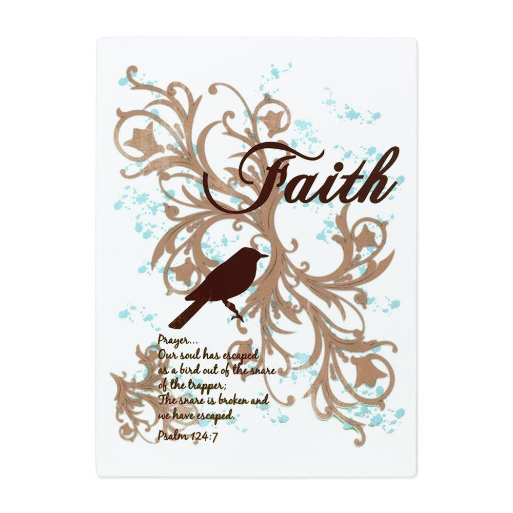 Glass Cutting Board Large Faith Prayer Dove Christian Cross