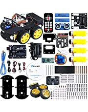 ELEGOO Robotic Project Smart Robot Car Kit V 3.0 with Line Tracking Module, Ultrasonic Sensor, IR Remote Module etc. Intelligent and Educational Toy Car Robotic Kit for Kids Teens