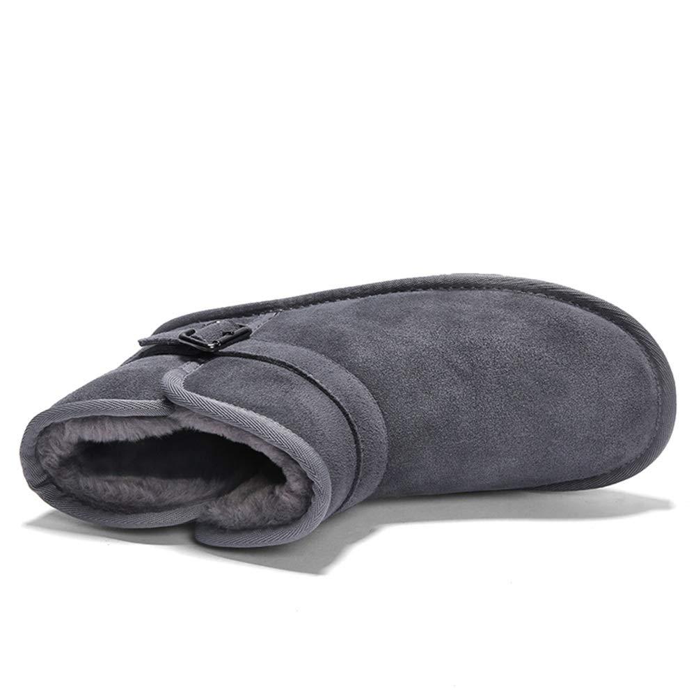 Dundun-Stiefel 2018 2018 2018 Neue Kommende Stiefel, Männer Und Wonmen Antirust Metallknöpfe Winter Faux Fleece Inside Home Schuhe Modische Schneeschuhe Lässig (Farbe   Grau, Größe   41 EU) 324986