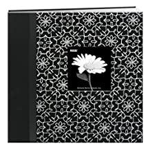 Pioneer Photo Albums 12 x 12-Inch Postbound Embroidered Frame Cover Memory Book, Black and White