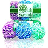 Lulu Essentials Premium Quality Loofah Multi - Color (6 Pack) Bath and Shower Sponge, Mesh Pouf Body Luffa Scrubber Puff