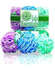 Lulu Essentials Premium Quality Loofah ~ (6 Pack) Large 60 grams Cleansing Loofah Pouf for Bath and Shower ~ Best Mesh Exfoliating Scrubbing Puff Sponge ~ Multi-Colour