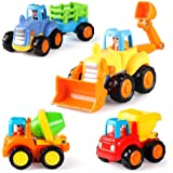 Coogam 4 Pack Friction Powered Cars Construction Vehicles Toy Set Cartoon Push and Go Car Tractor, Bulldozer, Cement Mixer Tr