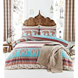 ELEPHANT FLORAL INDIAN PATTERN BROWN BLUE CANADIAN QUEEN SIZE (COMFORTER COVER 230 X 220 - UK KING SIZE) (PLAIN BEIGE FITTED SHEET - 152 X 200CM + 25 - UK KING SIZE) PLAIN BEIGE HOUSEWIFE PILLOWCASES 6 PIECE BEDDING SET