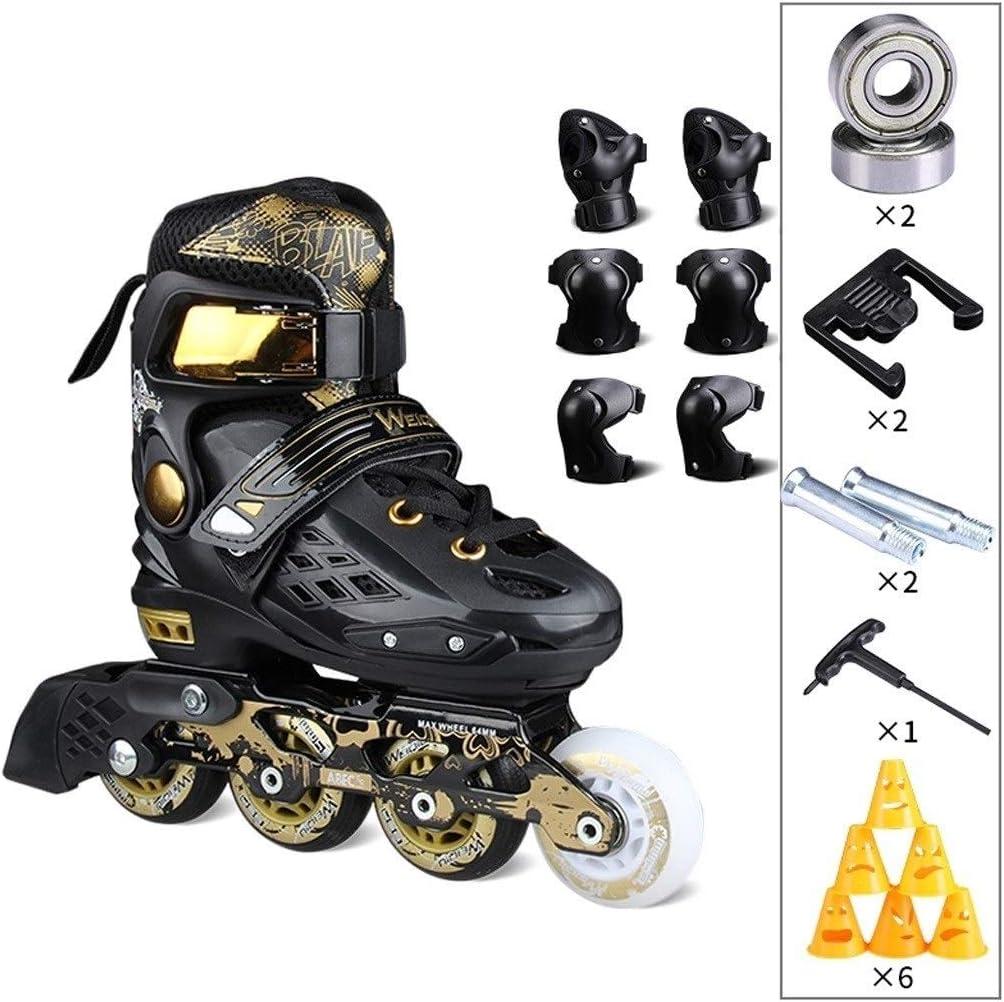 子供用プロスケートスピードスケート靴、男性と女性の大人の初心者調整可能な学生ローラースケート (Color : B, Size : S(30-33)) B S(30-33)