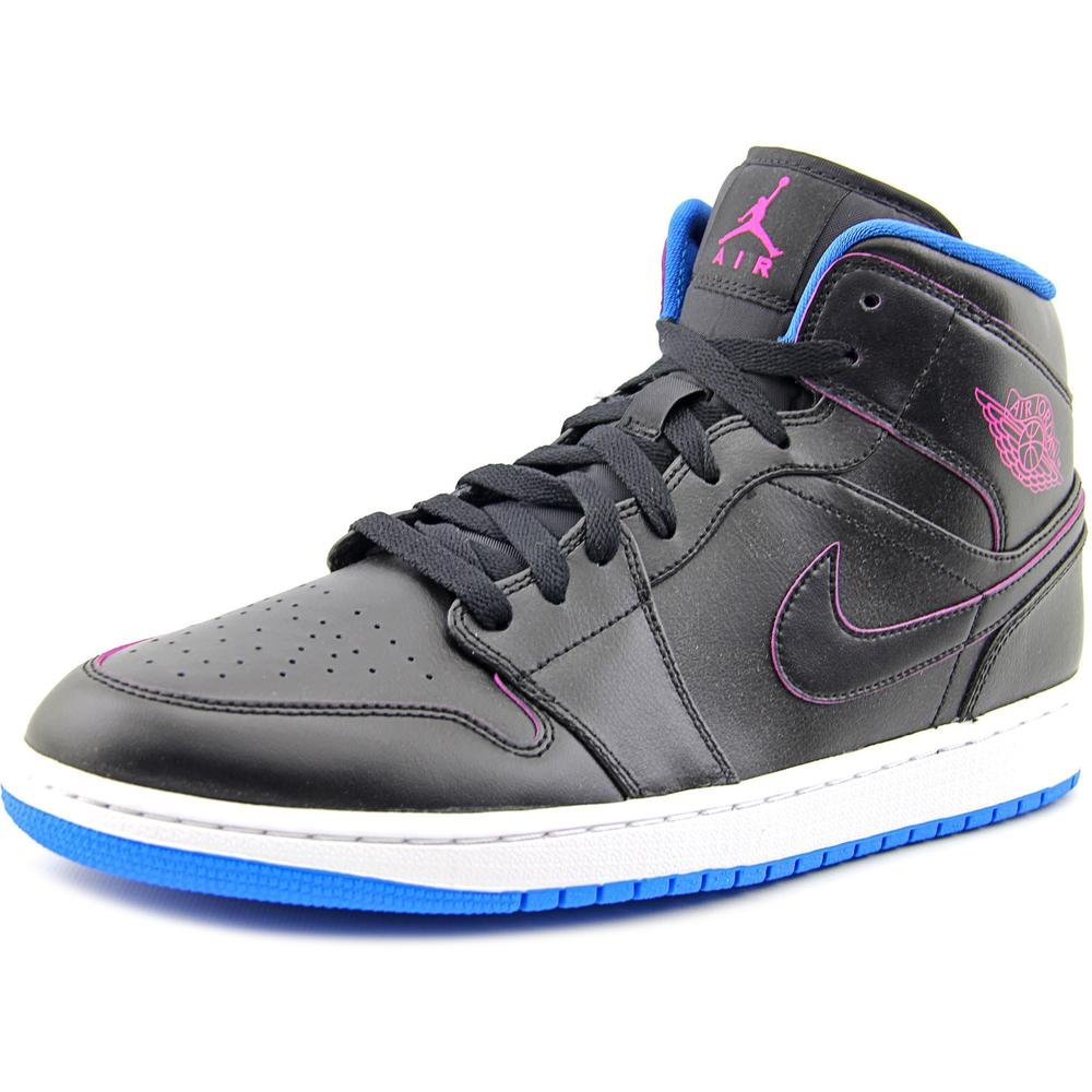 new concept f9d83 fb85f authentic nike mens air jordan 1 mid black fire pink photo blue basketball  shoe 59704 cabc3