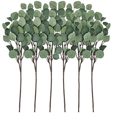 CEWOR Artificial Silver Dollar Eucalyptus Stems 6pcs Artificial Eucalyptus Leaves Fake Plants Artificial Leaves for Home Decoration(25.5in, Gray Green)