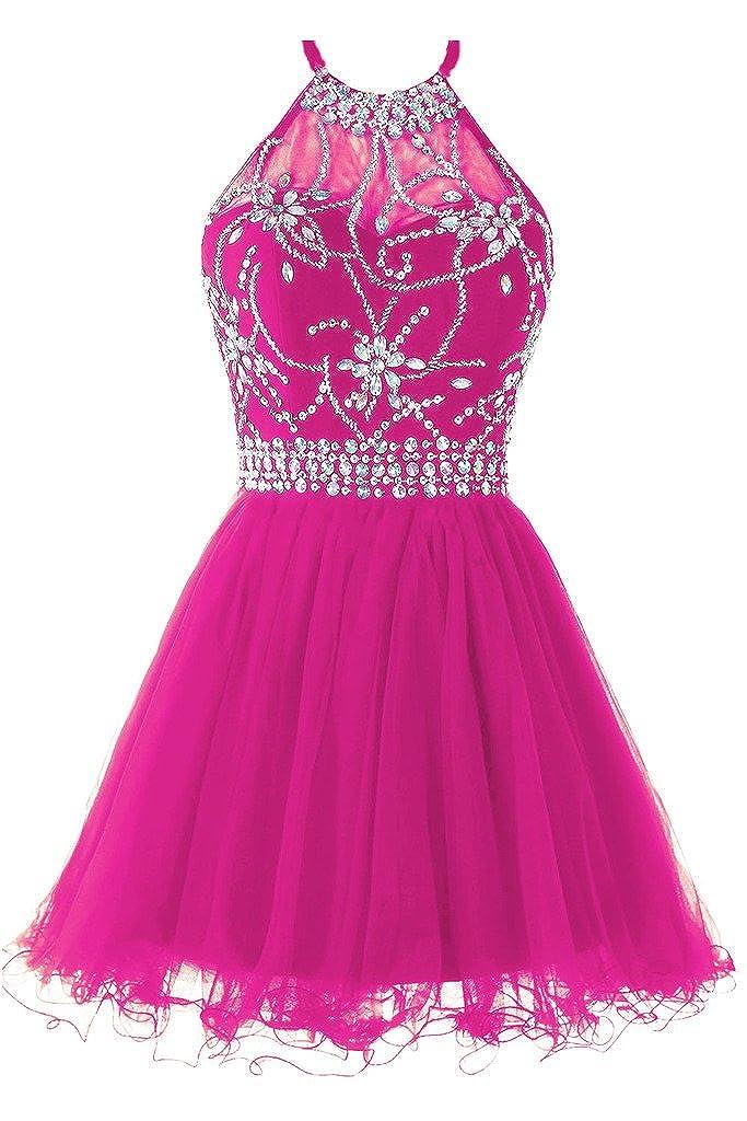 Fuchsia Musever Women's Halter Short Homecoming Dress Beading Tulle Prom Dress