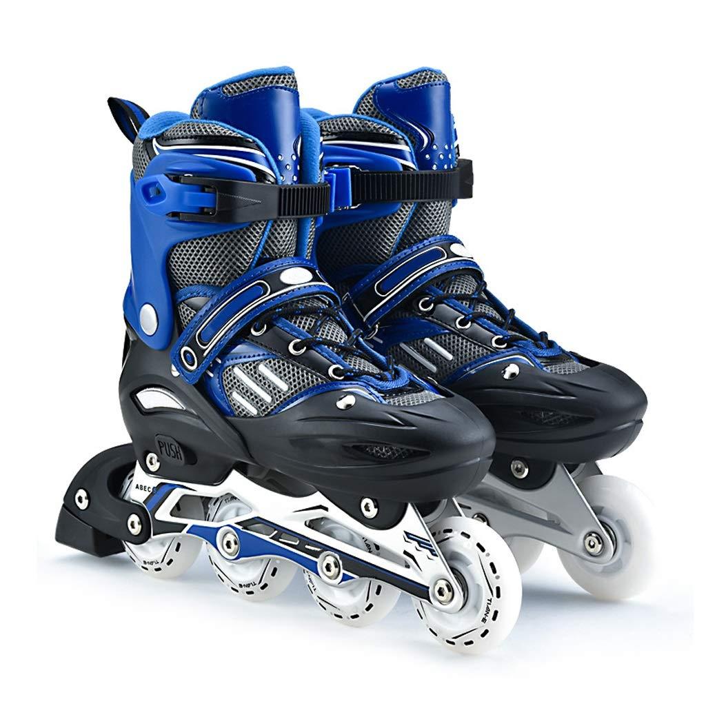 XZ15 アダルト初心者キッズインラインスケート、プロフェッショナルローラーシューズ、アンチコリジョンショックオールフラッシュオーロラホイール、アルミブラケットスケートバッグ+プロテクティブギア+アクセサリー (Color : 青, Size : 39-42) 青 39-42