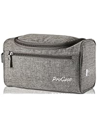 ProCase Toiletry Bag Travel Case with Hanging Hook, Organizer for Accessories, Shampoo, Cosmetic, Personal Items, Healthcare Bag with Handle, Gray