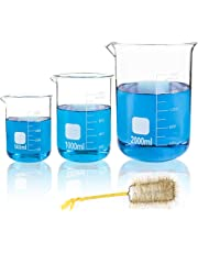 SUPERLELE Thick Glass Beakers 500ml, 1000ml, 2000ml, Borosilicate Glass Graduated Measuring Beaker Set, Large Capacity Low Form Griffin Thick Wall Type Beakers, with 1 Beaker Brush