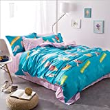 Bedding for Girls Colorful Birds Pattern Bedding Set Ultra Soft Striped Bed Sheet Cute Duvet Cover Set Duvet Cover Suitable for Spring,Not Comforter,Queen Size (#4)