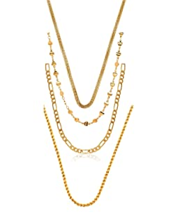 Charms Combo of Four Gold Plated Chains for Boys & Men (Golden)(CH-18-19-21-22ef)