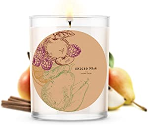 Kate Bissett Fall Candle Collection | Spiced Pear | 18 oz Candles | Spiced pear, Apricot, Tangelo, Juicy Orange, Raspberry, Clove, Honey Crisp Apple, Orange Blossom, Vanilla Cream, Coconut