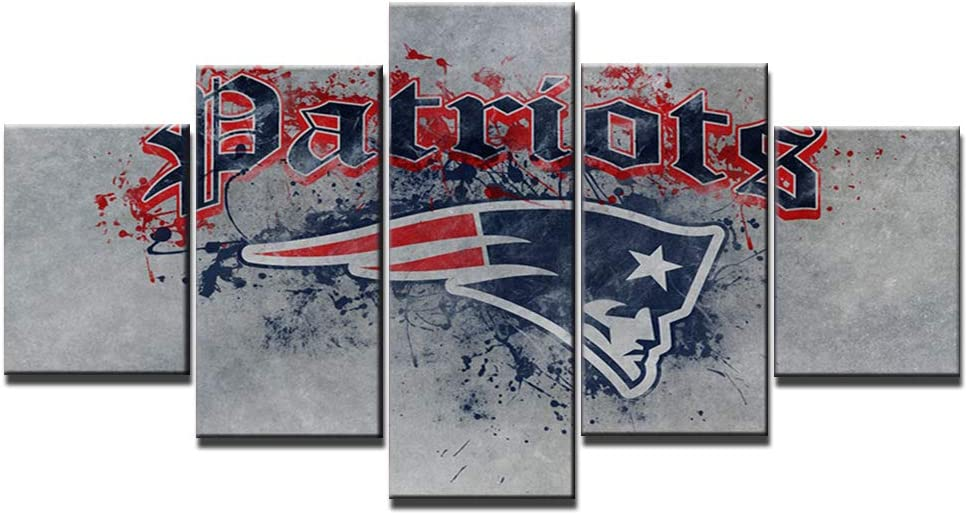 New England Patriots Wall Decor Abstract Art Paintings 5 Piece Canvas Picture Artwork Living Room NFL Prints Poster Football Decoration Wooden Framed Ready to Hang(60''Wx32''H)