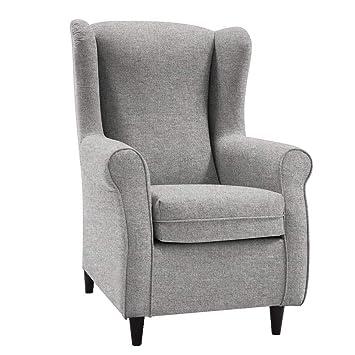 HOGAR TAPIZADO Butaca sillón orejero Nadia Color Plata 100 x 72 x 74 (