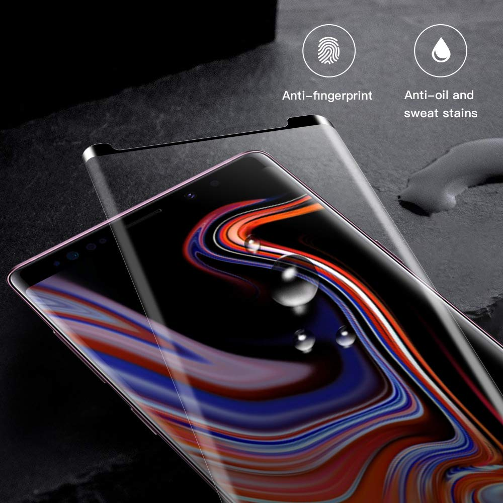 EyeO2 for Samsung Galaxy Note 9 Screen Protector 3D Curved Tempered Glass Film Anti-Scratch Anti-Fingerprint Full Cover Clear Edge Screen Guard Case Friendly