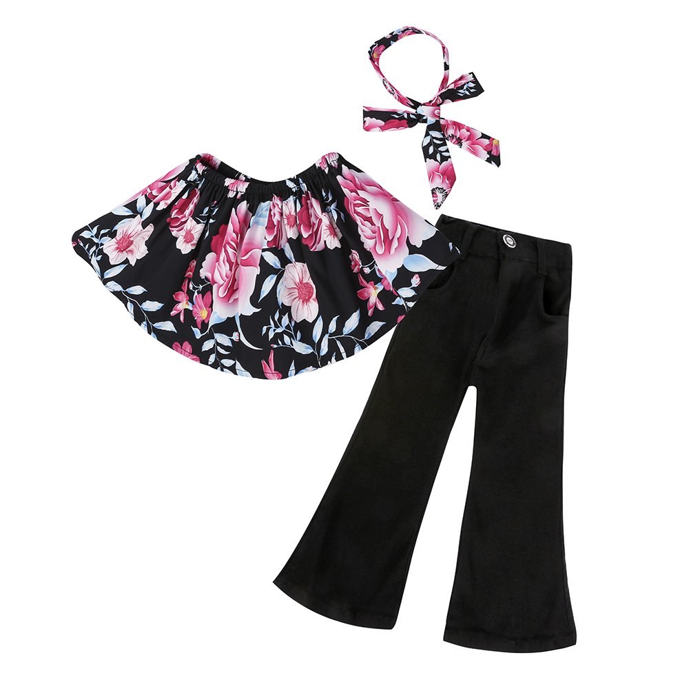 3pcs Baby Girls Off Shoulder Floral Top+Bootcut Pants+Headband Clothes Outfit Set