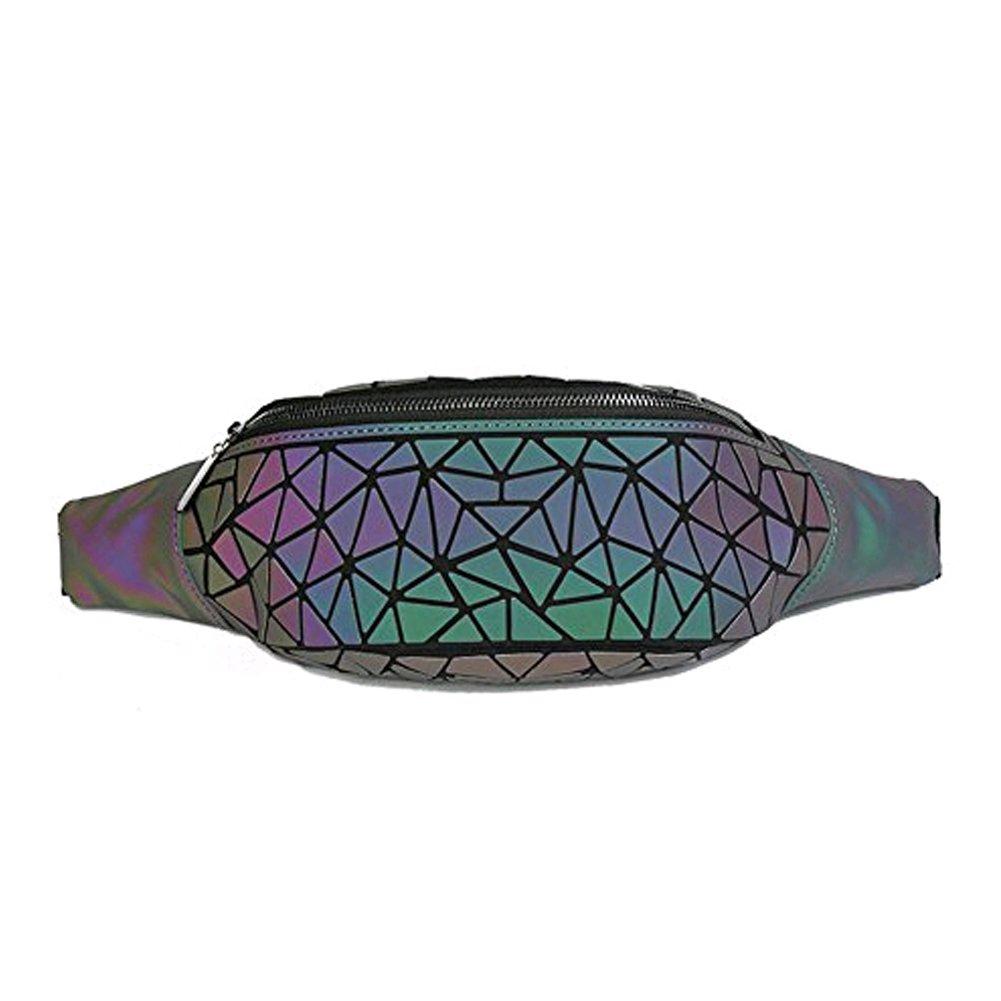 Women Geometric Luminous Waist Fanny Pack Chest Bag for Sport Outdoor Travel